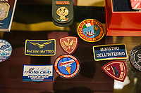 ROME, ITALY - 5 FEBRUARY 2020:  A collection of police and institutional patches is seen here in the office of Senator Matteo Salvini, former Interior Minister of Italy and leader of the far-right League party, in Rome, Italy, on February 5th 2020.