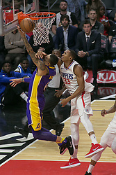 November 27, 2017 - Los Angeles, California, U.S - Wesley Johnson #33 of the Los Angeles Clippers blocks Kyle Kuzma #0 of the Los Angeles Lakers during their game on Monday November 27, 2017 at the Staples Center in Los Angeles, California. Clippers defeat Lakers 120-115. (Credit Image: © Prensa Internacional via ZUMA Wire)