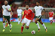 Hal Robson-Kanu of Wales (c) in action.Wales v Rep of Ireland , FIFA World Cup qualifier , European group D match at the Cardiff city Stadium in Cardiff , South Wales on Monday 9th October 2017. pic by Andrew Orchard, Andrew Orchard sports photography