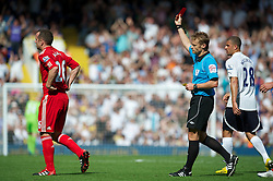18.09.2011, White Hart Lane, London, ENG, PL, Tottenham Hotspur FC vs Liverpool FC, im Bild Liverpool's Charlie Adam is shown the red card after getting a second second yellow card against Tottenham Hotspur during the Premiership match at White Hart Lane. EXPA Pictures © 2011, PhotoCredit: EXPA/ Propaganda Photo/ David Rawcliff +++++ ATTENTION - OUT OF ENGLAND/GBR+++++