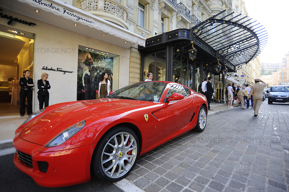 General view of a Ferrari lined up outside the Salvatore Ferragaino store and Hermes Hotel in Monaco, Monte Carlo.