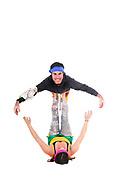 Balance - two acrobats balancing on each other woman balances man