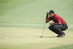 August 12, 2018 - Town And Country, Missouri, U.S - TIGER WOODS from Jupiter Florida, USA  lines up a put on the 18th green during round four of the 100th PGA Championship on Sunday, August 12, 2018, held at Bellerive Country Club in Town and Country, MO (Photo credit Richard Ulreich / ZUMA Press) (Credit Image: © Richard Ulreich via ZUMA Wire)
