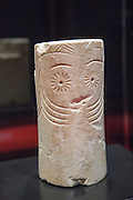 Chalcolithic marble cylinder shaped idol from 2,500 BC  archaeology museum, Jerez de la Frontera, Cadiz Province, Spain