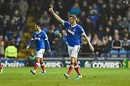 Portsmouth Midfielder, Carl Baker (7) celebrates after making it 3-0 during the EFL Sky Bet League 2 match between Portsmouth and Mansfield Town at Fratton Park, Portsmouth, England on 12 November 2016. Photo by Adam Rivers.