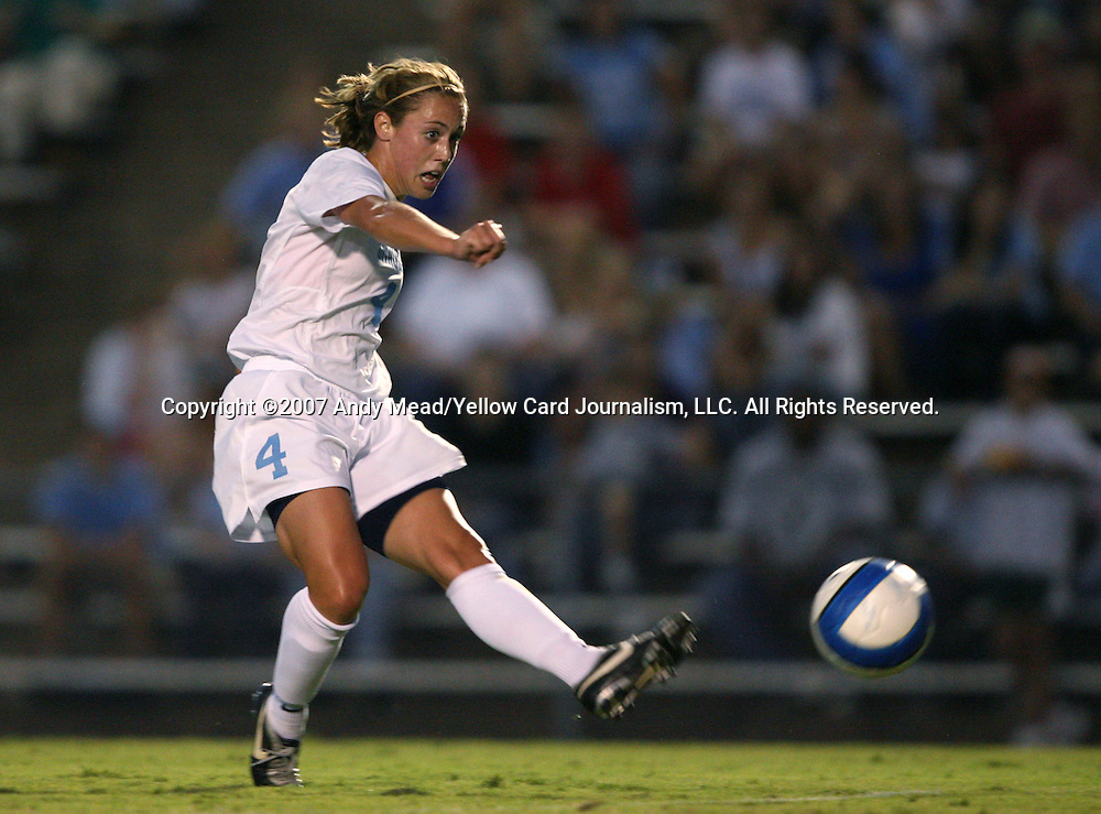 07 September 2007: North Carolina's Meghan Klingenberg shoots and scores the game's first goal. The University of North Carolina Tar Heels defeated the Texas A&M University Aggies 2-1 at Fetzer Field in Chapel Hill, North Carolina in an NCAA Division I Women's Soccer game, and part of the annual Nike Carolina Classic tournament.