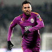 Galatasaray's Yasin Oztekin celebrate his goal during their Turkish soccer super league match Sivasspor between Galatasaray at 4 Eylul Stadium in Sivas Turkey on Saturday, 21 February 2015. Photo by Aykut AKICI/TURKPIX