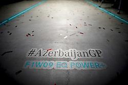 April 29, 2018 - Baku, Azerbaijan - Motorsports: World Championship; 2018; Grand Prix Azerbaijan, Grand Prix of Europe, Formula 1 2018 Azerbaijan Grand Prix, . Text on track  (Credit Image: © Hoch Zwei via ZUMA Wire)