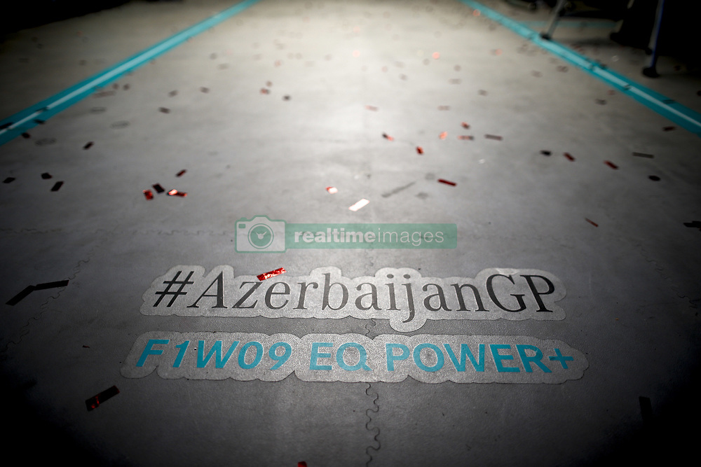 April 29, 2018 - Baku, Azerbaijan - Motorsports: World Championship; 2018; Grand Prix Azerbaijan, Grand Prix of Europe, Formula 1 2018 Azerbaijan Grand Prix, . Text on track  (Credit Image: © Hoch Zwei via ZUMA Wire)