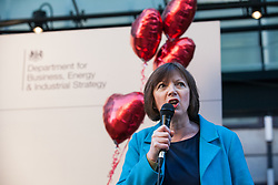 London, UK. 14th February, 2019. Frances O'Grady, General Secretary of the Trades Union Congress (TUC) addresses a Valentine's Day-themed picket line outside the Department of Business, Energy and Industrial Strategy (BEIS) with outsourced support staff from the Public and Commercial Services (PCS) union taking strike action to demand the London Living Wage and an end to outsourcing.