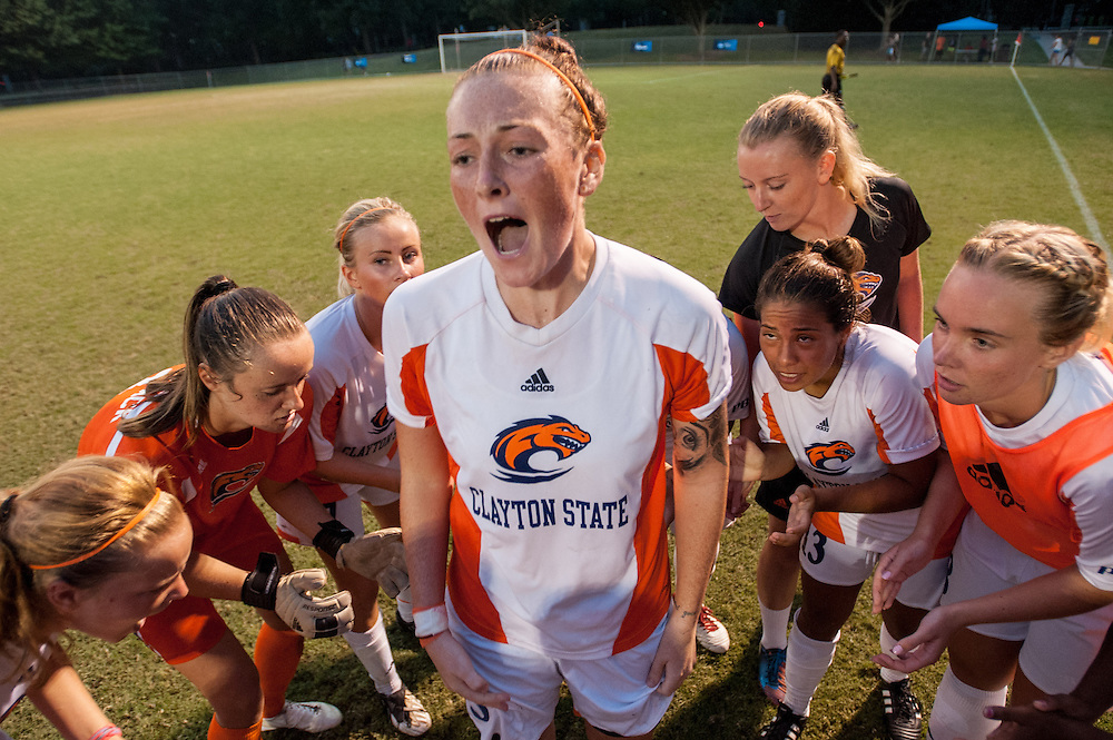 Sep 5, 2013; Morrow, GA, USA; Clayton State women's soccer player Melissa Hetherington rallies teammates prior to the game against Tampa at CSU. Both teams tied 3-3 in overtime. Photo by Kevin Liles/kevindliles.com