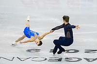 KELOWNA, BC - OCTOBER 26:  Evelyn Walsh and Trennt Michaud of Canada compete in pairs free skate during Skate Canada International at Prospera Place on October 25, 2019 in Kelowna, Canada. (Photo by Marissa Baecker/Shoot the Breeze)