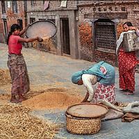 Women winnow grain in the streets of Kathmandu, Nepal, 1977.