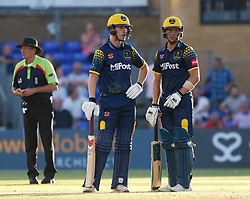 Glamorgan's Craig Meschede with team-mate Nick Selman<br /> <br /> Photographer Simon King/Replay Images<br /> <br /> Vitality Blast T20 - Round 8 - Glamorgan v Gloucestershire - Friday 3rd August 2018 - Sophia Gardens - Cardiff<br /> <br /> World Copyright © Replay Images . All rights reserved. info@replayimages.co.uk - http://replayimages.co.uk