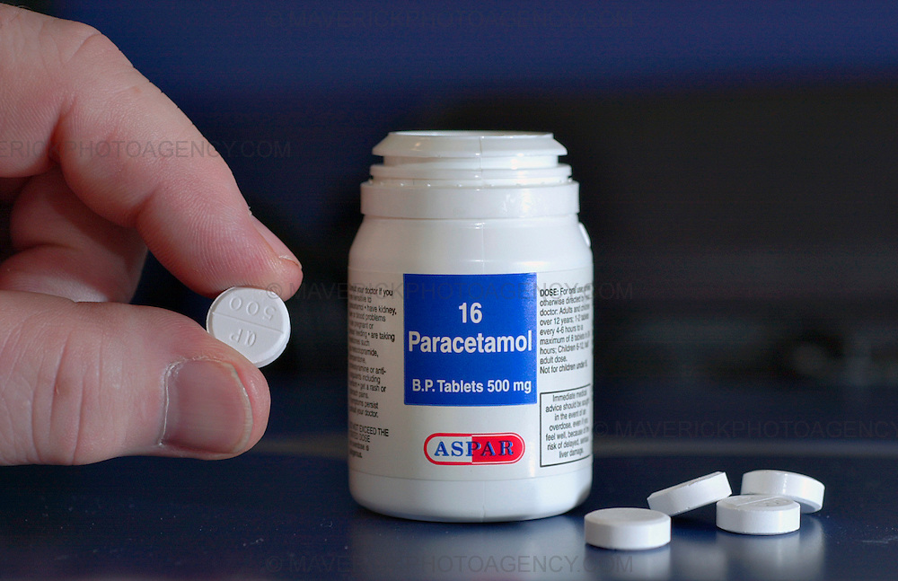 Close-up of a hand holding a Paracetamol tablet.