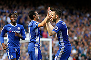 Chelsea players celebrate a goal (score 3-1) during the Premier League match between Chelsea and Sunderland at Stamford Bridge, London, England on 21 May 2017. Photo by Andy Walter.