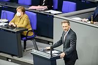 11 FEB 2021, BERLIN/GERMANY:<br /> Christian Lindner (R), MdB, FDP Fraktionsvorsitzender, haelt eine Rede, Debatte nach der  Regierungserklaerung von Angela Merkel (L), CDU, Bundeskanzlerin, Bundeskanzlerin zur Bewaeltigung der Corvid-19-Pandemie, Plenum, Reichstagsgebaeude, Deutscher Bundestag<br /> IMAGE: 20210211-01-070<br /> KEYWORDS: Corona