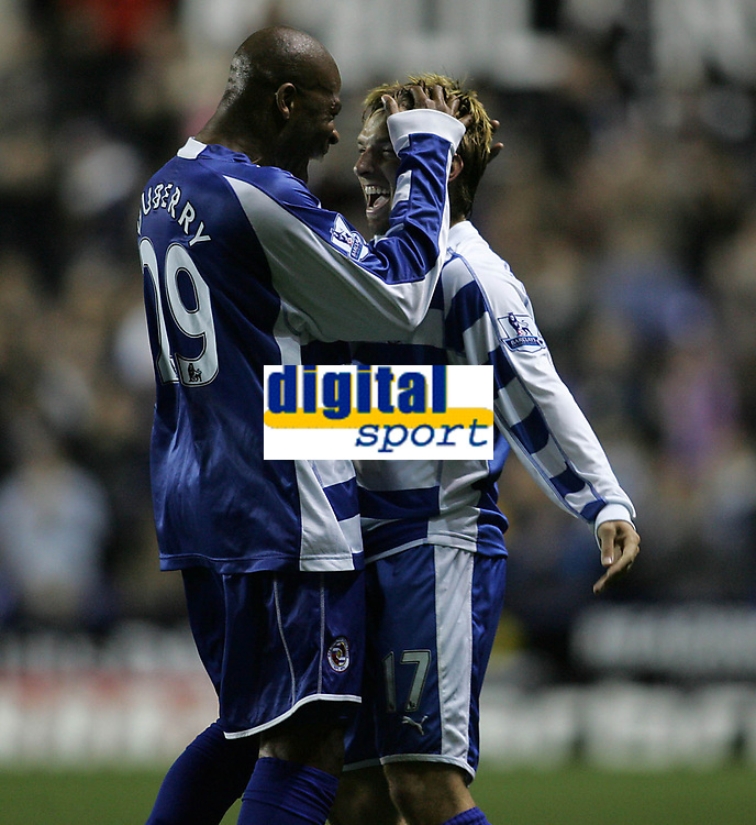Photo: Lee Earle.<br /> Reading v Liverpool. Carling Cup. 25/09/2007. Reading's Michael Duberry (L) congratulates Bobby Convey after he scored their first goal.