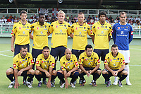 FOOTBALL - FRIENDLY GAMES 2010/2011 - FC SOCHAUX v EVIAN THONON - 14/07/2010 - PHOTO ERIC BRETAGNON / DPPI - TEAM SOCHAUX : (BACK ROW LEFT TO RIGHT : JEREMIE BRECHET / JACQUES FATY / DAMIEN PERQUIS / VACLAV SVERKOS / KEVIN ANIN / MATTHIEU DREYER . FRONT ROW : DAVID SAUGET / GEOFFREY TULASNE / YASSINE MIKARI / SERDAR GURLAR / MARVIN MARTIN)