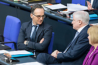 13 FEB 2020, BERLIN/GERMANY:<br /> Heiko Maas (L), SPD, Bundesaussenminister, und Horst Seehofer (R), CSU, Bundesinnenminister, Sitzung des Deutsche Bundestages, Plenum, Reichstagsgebaeude<br /> IMAGE: 20200213-01-044