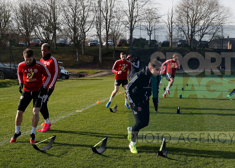 Oliver Norwood and John Fleck of Sheffield Utd  during the Press Conference & Training at the Steelphalt Academy, Sheffield. Picture date: 7th February 2020. Picture credit should read: Simon Bellis/Sportimage
