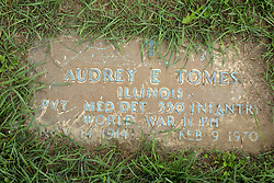 31 August 2017:   Veterans graves in Park Hill Cemetery in eastern McLean County.<br /> <br /> Audrey E Tomes  Illinois  Private  Med Det 330 Infantry  World War II  Purple Heart  Nov 14 1914  Feb 9 1970