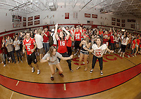 The LHS student body joins together in celebration at the conclusion of Friday afternoons Homecoming Pep Rally.  (Karen Bobotas/for the Laconia Daily Sun)