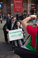 English actor, comedian and activist Ricky Tomlinson, pictured with a boy in a wheelchair outside the Manchester Central Convention Complex during the Labour Party's annual conference. The conference was the last to be held before the 2015 UK General Election. Tomlinson campaigned for justice for himself and fellow trade unionists jailed in the 1970s following an industrial dispute.