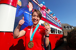 Lizzy Yarnold during the victory bus tour through Sevenoaks, Kent.