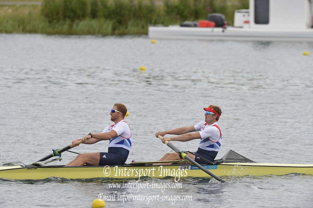 Eton Dorney, Windsor, Great Britain,..2012 London Olympic Regatta, Dorney Lake. Eton Rowing Centre, Berkshire[ Rowing]...Description;  GBR M2-. Bow George NASH and Will SATCH, move away from the start in their heat of the men's Pair,  Dorney Lake. 14:23:41  Saturday  28/07/2012. [Mandatory Credit: Peter Spurrier/Intersport Images].