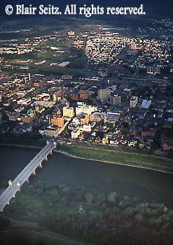 Aerial, Susquehanna River, Wilkes-Barre town