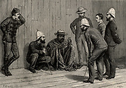 Cetawayo or Cetewayo (d1884) king of Zululand, South Africa 1873-1883.  During the Anglo-Zulu war of 1879 Cetawayo was defeated at Ulundi and taken prisoner.  Here he is shown a prisoner in Cape Town receiving visitors. Illustration by Frank Dadd (1851-1929) English artist and illustrator.  From 'The Illustrated London News' (London, 25 October 1879). Engraving.