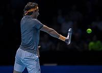Tennis - 2019 Nitto ATP Finals at The O2 - Day Seven<br /> <br /> Semi Finals: Dominic Thiem (Austria) Vs. Alexander Zverev (Germany)<br /> <br /> Dominic Thiem (Austria) with a backhand return<br /> <br /> COLORSPORT/DANIEL BEARHAM<br /> <br /> COLORSPORT/DANIEL BEARHAM