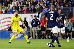 May 15, 2019 - Foxborough, MA, U.S. - FOXBOROUGH, MA - MAY 15: Chelsea FC forward Olivier Giroud (18) watches New England Revolution defender Andrew Farrell (2) during the Final Whistle on Hate match between the New England Revolution and Chelsea Football Club on May 15, 2019, at Gillette Stadium in Foxborough, Massachusetts. (Photo by Fred Kfoury III/Icon Sportswire) (Credit Image: © Fred Kfoury Iii/Icon SMI via ZUMA Press)