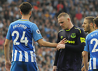 Football - 2017 / 2018 Premier League - Brighton & Hove Albion vs. Everton<br /> <br /> Wayne Rooney of Everton is pushed back by Davy Propper of Brighton at The Amex.<br /> <br /> COLORSPORT/ANDREW COWIE
