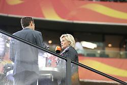 13.07.2011, Commerzbank Arena, Frankfurt, GER, FIFA Women Worldcup 2011, Halbfinale,  Japan (JPN) vs. Schweden (SWE), im Bild.Bundestrainerin Silvia Neid (R) beim ZDF... // during the FIFA Women´s Worldcup 2011, Semifinal, Japan vs Sweden on 2011/07/13, Commerzbank Arena, Frankfurt, Germany.   EXPA Pictures © 2011, PhotoCredit: EXPA/ nph/  Mueller       ****** out of GER / CRO  / BEL ******