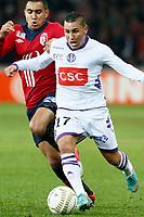 FOOTBALL - FRENCH LEAGUE CUP 2012/2013 - 1/8 FINAL - LILLE OSC v TOULOUSE FC - 30/10/2012 - PHOTO CHRISTOPHE ELISE / DPPI - DIMITRI PAYET (LOSC), ADRIEN REGATTIN (TOULOUSE FC)