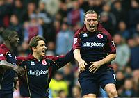 Boudewijn Zenden (Middlesbrough) celebrates scoring the 1st goal with Juninho. Aston Villa v Middlesbrough. 8/11/2003. Credit : Colorsport/Andrew Cowie.