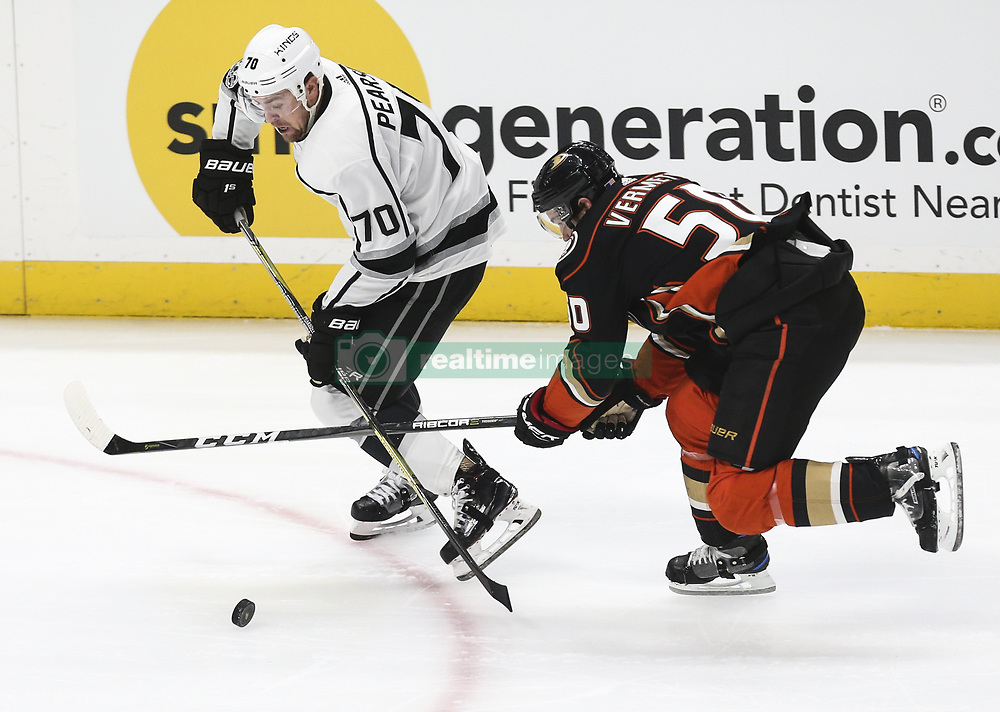 November 7, 2017 - Los Angeles, California, U.S - Los Angeles Kings forward Tanner Pearson (70) and Anaheim Ducks forward Antoine Vermette (50) fight for the puck during a 2017-2018 NHL hockey game in Anaheim, California on Nov. 7, 2017. Los Angeles Kings won 4-3 in overtime. (Credit Image: © Ringo Chiu via ZUMA Wire)
