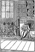 Schoolmaster and his pupils. 18th century woodcut