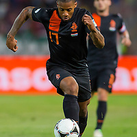 Netherlands' Jeremain Lens leads the ball during a World Cup 2014 qualifying soccer match Hungary playing against Netherlands in Budapest, Hungary on September 11, 2012. ATTILA VOLGYI