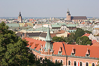 The view over Krakow from the bell tower in Wawel Cathedral in Krakow Poland