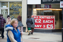Discount knitwear sign, Rotherham, South Yorkshire