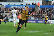 Laurent Koscielny of Arsenal ® celebrates after he scores his teams 2nd goal. Barclays Premier league match, Swansea city v Arsenal  at the Liberty Stadium in Swansea, South Wales  on Saturday 31st October 2015.<br /> pic by  Andrew Orchard, Andrew Orchard sports photography.