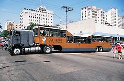 Camello or camel bus crossing La Rampa in Vedado; Havana; Cuba,