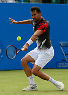Kenny Schepper (FRA) in action during his ATP match against Cameron Norrie (GBR). The Aegon Open Nottingham 2017, international tennis tournament at the Nottingham tennis centre in Nottingham, Notts , day 2 on Tuesday 13th June 2017.<br /> pic by Bradley Collyer, Andrew Orchard sports photography.