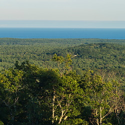 The Atlantic Ocean and Cape Neddick as seen from the summit of Mount Agamenticus in York, Maine.
