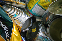 Recycling steel and aluminium cans at Emerge Recycling; Manchester,