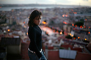 Portrait of Fado singer Carminho at Graca lookout. She is one of the young generation of fado singers and players that renewed the music scene in during the last years.