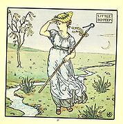 Little Bo-Peep has lost her sheep, / and doesn't know where to find them; / leave them alone, And they'll come home, wagging (bringing) their tails behind them. From the Book '  The baby's opera : a book of old rhymes, with new dresses by Walter Crane, and Edmund Evans Publishes in London and New York by F. Warne and co. in 1900